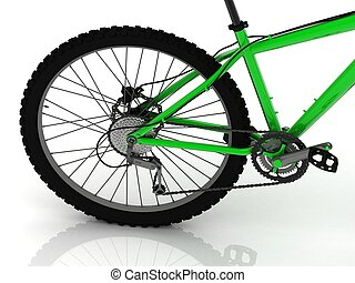 sportende, pedaal, ketting, het toestel van de fiets