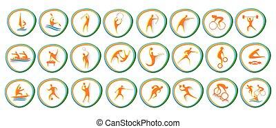 sportende, pictogram, set, atleet, competitie, verzameling