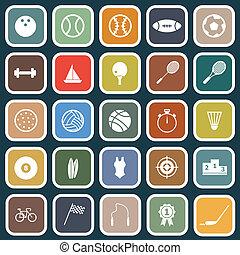 sportende, plat, iconen, op, blauwe achtergrond