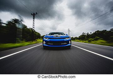 sportende, platteland, geleider, auto, blauwe