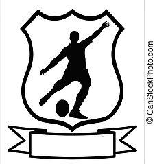 sportende, rugby, schild, voetbal