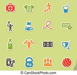 sportende, set, pictogram