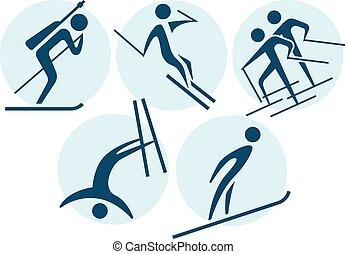 sportende, set, winter, iconen