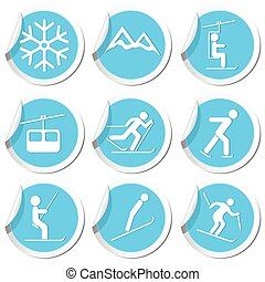 sportende, set, winter, iconen