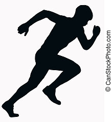 sportende, silhouette, -, mannelijke , sprint, atleet