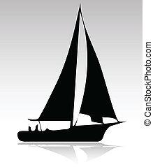 sportende, silhouette, versie, scheepje