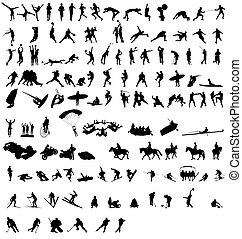 sportende, silhouettes, verzameling, 2