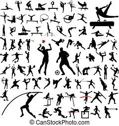 sportende, silhouettes, verzameling