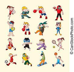 sportende, speler, iconen, set