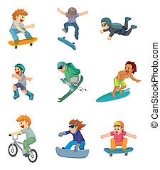 sportende, spotprent, extreem, pictogram