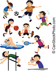 sportende, spotprent, pictogram