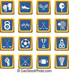 sportende, uitrusting, iconen, set, blauwe