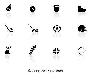 sportende, uitrusting, iconen