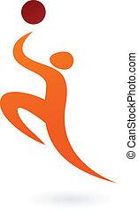 sportende, vector, figuur, -, basketbal