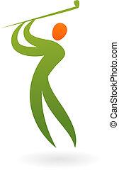 sportende, vector, figuur, -, golf
