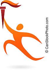 sportende, vector, figuur, -, olympics, ceremonie