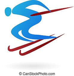 sportende, vector, figuur, -, ski