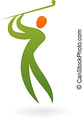 sportende, -, vector, golf, figuur