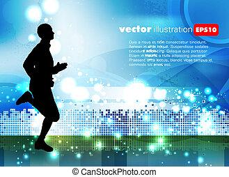 sportende, vector, illustratie