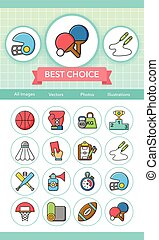 sportende, vector, set, pictogram