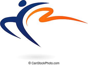 sportende, -, vector, turnoefening, figuur