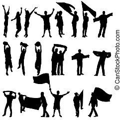 sportende, ventilatoren, silhouettes