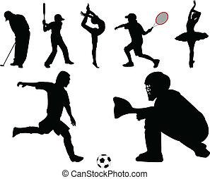 sportende, verzameling, -, vector