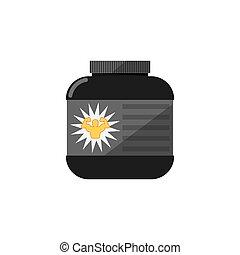sportende, voeding, container, vrijstaand, vector, pictogram