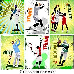 sportende, voetbal, baseb, zes, posters.
