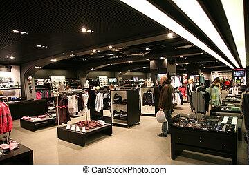 sportende, winkel, interieur