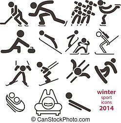 sportende, winter, iconen