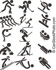 sportende, winter, iconen