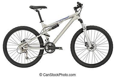 sportende, zilver, fiets, op wit