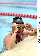 sportende, zwemmen