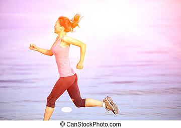 sporter kvinna, spring, kust, strand