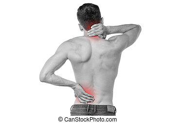 sporter men, smärta, mot, baksida
