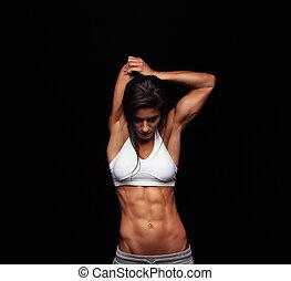 sportief, haar, workout, stretching, vrouwlijk, voor