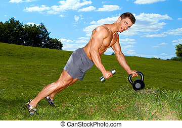 sportief, man, beoefenen, met, gewichten