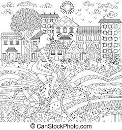 sportief, meisje, op, fiets, in, een, stad, voor, kleurend boek