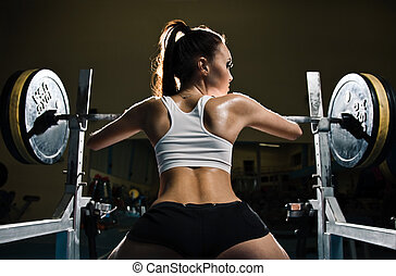 sportief, sexy, vrouw, in, gym