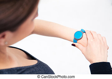 sportief, vrouw, gebruik, activiteit, tracker