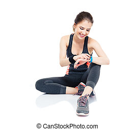 sportief, vrouw, gebruik, smart, horloge