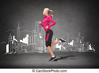 sportief, vrouw lopend, of, springt