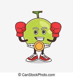 sportif, caractère, melon cantaloup, boxe, mascotte, style, dessin animé