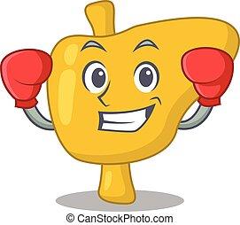 sportif, conception, boxe, athlète, foie, mascotte