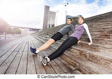 sportif, couple, jeune, ensemble, exercisme, dehors
