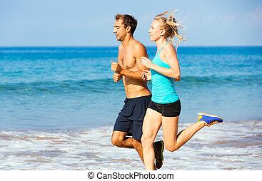 sportif, couple, jogging, ensemble, plage