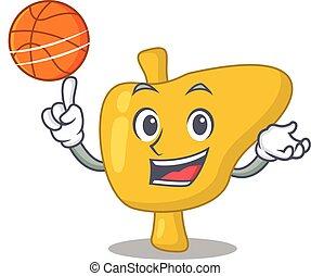 sportif, dessin animé, basket-ball, conception, foie, mascotte