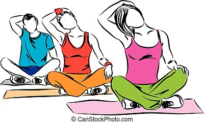 SPORTIF GROUP RELAXING AND STRETCHING ILLUSTRATION