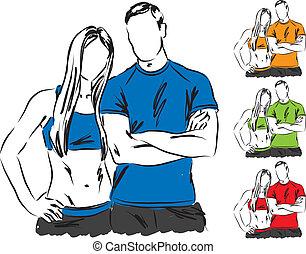 sportif, paar, illustratie